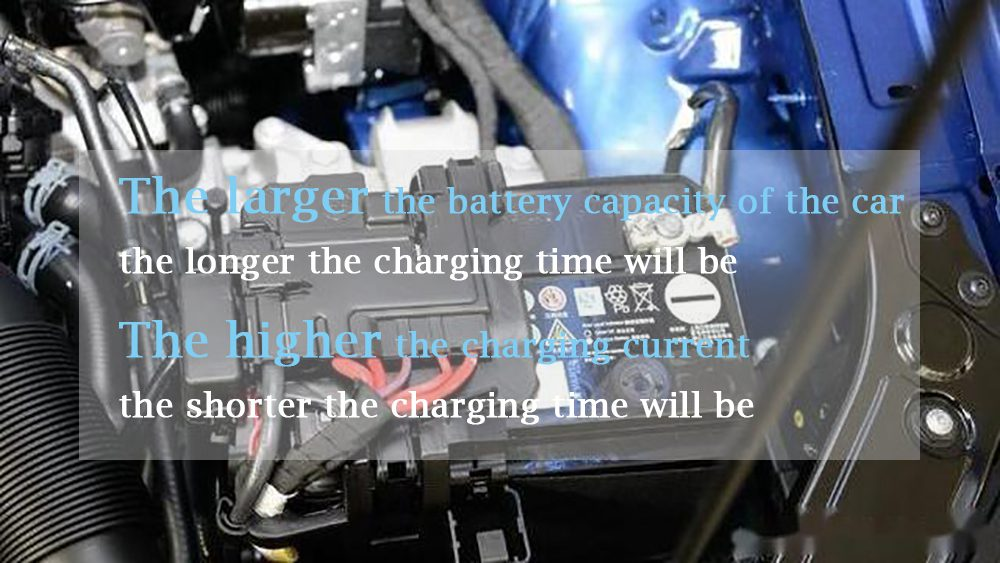 the larger the battery capacity of the car, the longer the charging time will be; The higher the charging current, the shorter the charging time
